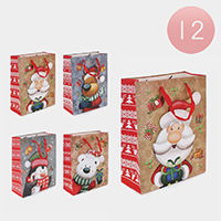 12PCS - Assorted Christmas Ornaments Animals Santa Gift Bags