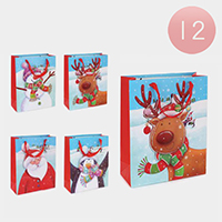 12PCS - Assorted Christmas Cute Animals Santa Snowflake Gift Bags
