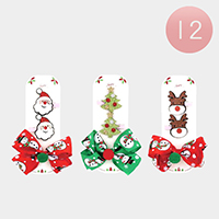 12 Set of 3 - Shimmery Christmas Animals Bow Hair Clip Pins