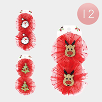 12 Set of 2 - Shimmery Christmas Santa Animals Hair Clip Pins