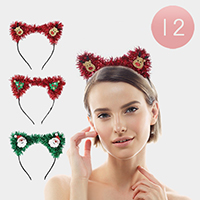 12PCS - Shimmery Assorted Christmas Themed Headbands