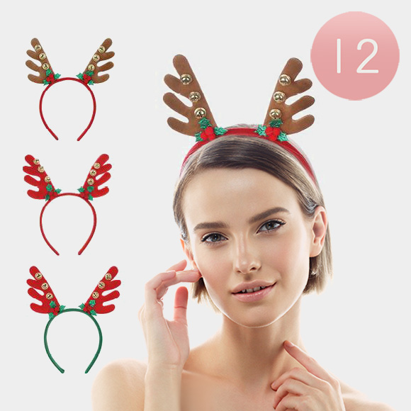 12PCS - Assorted Colors Rudolph Headbands