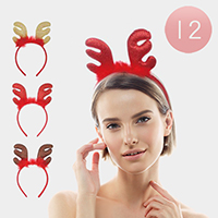 12PCS - Assorted Glittery Rudolph Headbands
