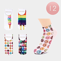 12Pairs - Assorted Donut Icecream Macaroon Ankle High Socks