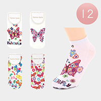 12Pairs - Assorted Butterfly Ankle High Socks