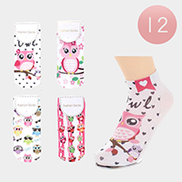 12Pairs - Assorted Owls Ankle High Socks