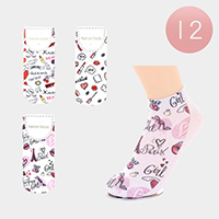 12Pairs - Assorted Paris Ankle High Socks