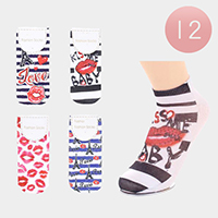 12Pairs - Assorted Lips Ankle High Socks