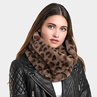 Faux Fur Leopard Snood Scarf
