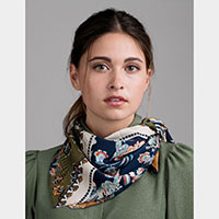 Flower Pattern Print Satin Scarf