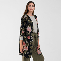 Lightweight Floral Knit Cardigan