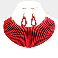 Metallic Cord Wrapped Statement Choker Necklace