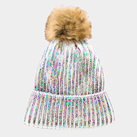Metallic Painted Fur Pom Pom Beanie