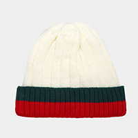 Cable Color Block Beanie Hat