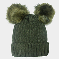 Double Pom Pom Knitted Beanie