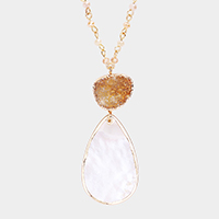 Druzy Mother Of Pearl Link Pendant Long Necklace