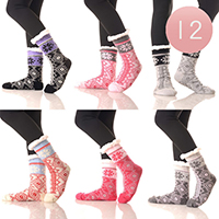 12PAIRS-Diamond Pattern Faux Sherpa Lined Slipper Socks