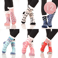 12PAIRS-Chevron Polka-Dot Faux Sherpa Slipper Socks