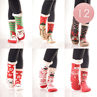 12PAIRS-Christmas Character Faux Sherpa Slipper Socks
