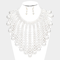 Pearl Bubble Collar Statement Necklace