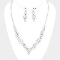 Crystal Teardrop Rhinestone Pave Leaf Necklace