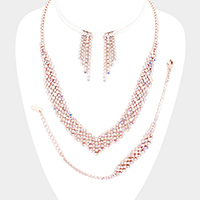 Rhinestone Pave Bubble V Collar Necklace Set