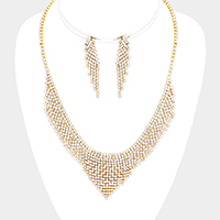 Rhinestone Pave V Collar Necklace