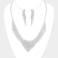 Rhinestone Pave V Collar Evening Necklace