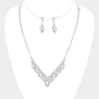 Crystal Marquise Rhinestone Pave V Collar Necklace