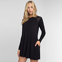 Mesh Shoulder Long Sleeve Dress w/ Pockets