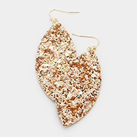 Glitter Textured Oval Fabric Earrings
