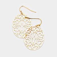 Metal Oval Filigree Dangle Earrings