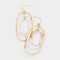 Abstract Multi Oval Hoop Dangle Earrings