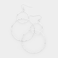 Twisted Metal Hoop Dangle Earrings