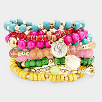 9PCS Multi Layered Assorted Beaded Bracelets