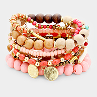 10PCS Multi Layered Assorted Beaded Bracelets