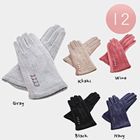 Button Chenille Feel Screen Touch Ladies Gloves