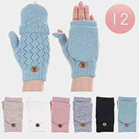 Knit Winter Fingerless Flip Cover Ladies Gloves