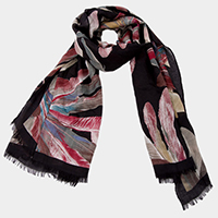 Light Soft Feather Print Short Fringe Oblong Scarf
