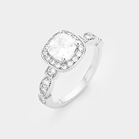 Rhodium plated asscher cut CZ ring