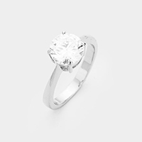 Rhodium  Plated Round Cubic Zirconia Ring