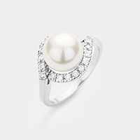 Rhodium Plated Pearl Cubic Zirconia Ring