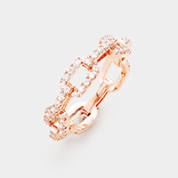 Rose Gold Plated Link Cubic Zirconia Ring