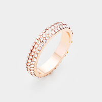 Rose Gold Plated 3Rows Cubic Zirconia Pave Ring