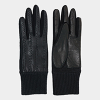 Genuine Sheep Skin Stitches Accent Leather Gloves