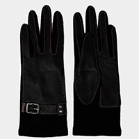 Genuine Sheep Skin Contour Stitches Accent Leather Gloves