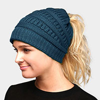 Solid Stretchy Hole Knitted Beanie Hat