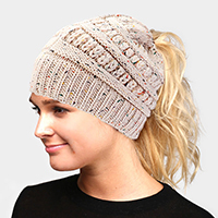 Multi Color Sprinkled Hole Knitted Beanie Hat