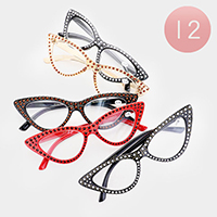 12PCS - Crystal Reading Glasses