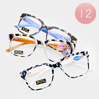 12PCS - Rectangle Textured Frame Reading Glasses